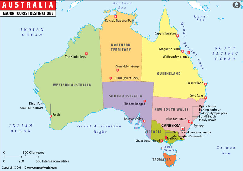 Australia On A Map.Australia Travel Map Knowing In Nature